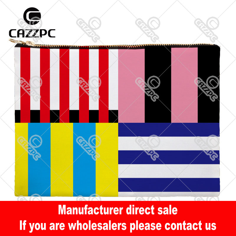 Red Black Yellow Navy Blue Flag Stripe Canvas Pattern Print Cosmetic Bag Makeup Pouch Wristlet Hand Bag(China (Mainland))