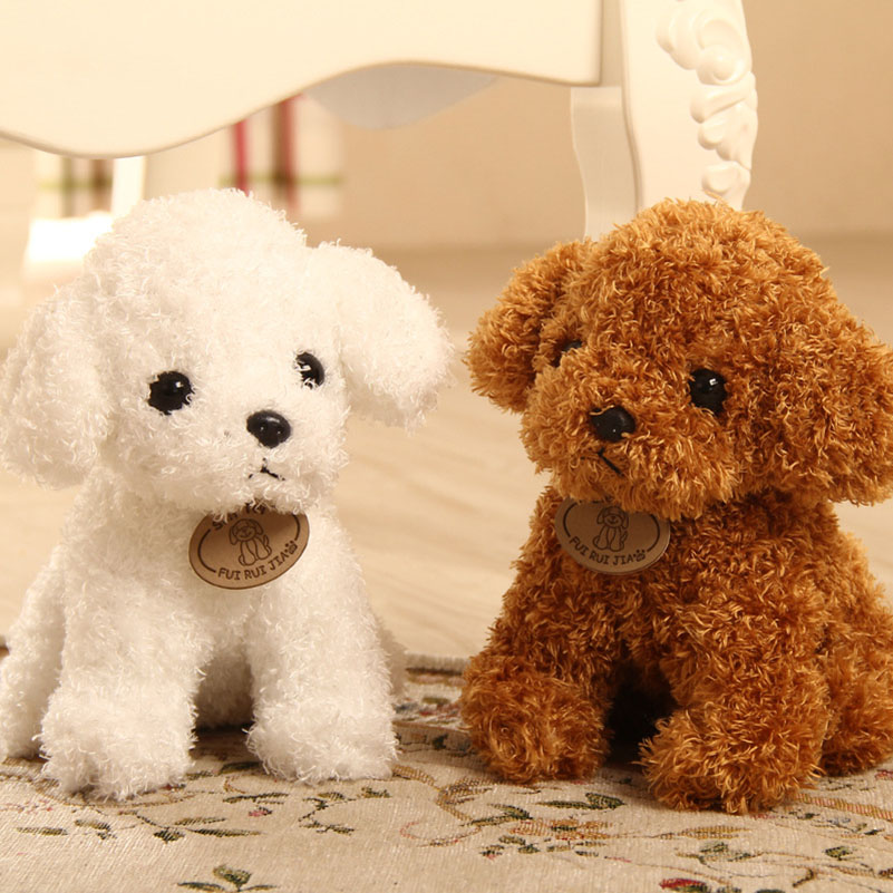 20cm High Quality Plush Poodle Toy Simulation Teddy Dog Plush Toy Puppy White & Brown & Dark Brown Toys For Children(China (Mainland))