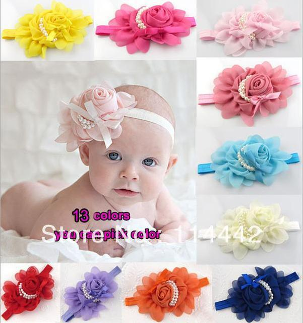 Free shipping 10Pcs/Lot  13 colors 2013 NEW Baby Girls chiffon Headbands scarf rose pearl flower Hairbands infant hair accessory