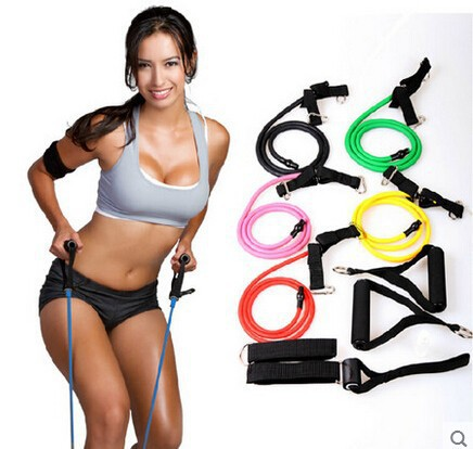 Natural Tension Health Elastic Fitness Exercise Sport Body Stretching Belt Pull Rope Strap with handle Sport Resistance Bands(China (Mainland))