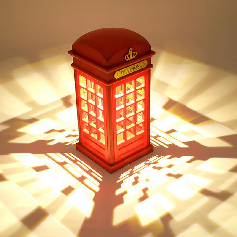 50pcs/lot London phone booth retro design LED Nightlight / USB charging ambient lighting Free shipping(China (Mainland))