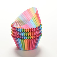 2016 Rainbow color 100 pcs cupcake liner baking cup cupcake paper muffin cases Cake box Cup tray cake mold decorating tools