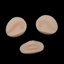 3D Permanent Makeup Tattoo Practice Skin Replacement Parts 2 Eyes + 1 Lips for Training Mannequin Head 10 Sets/Lot(China (Mainland))