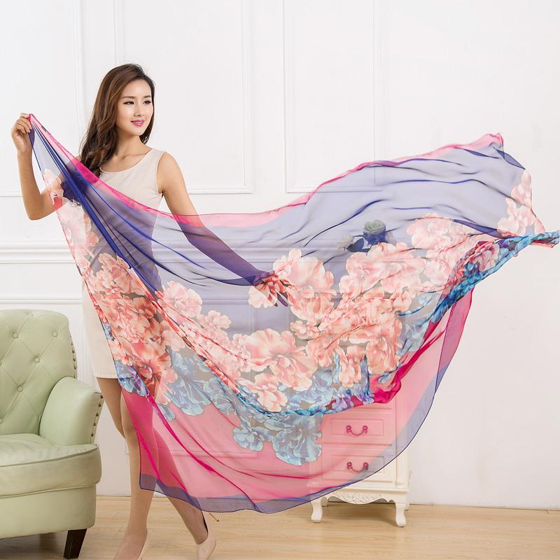 2015 New Hijab scarves for women fashion Sunscreen Female scarf Chiffon Silk Beach Towel brand scarf Print scarf 190 150(China (Mainland))