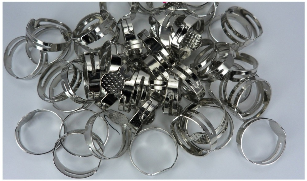 Buy 50pcs adjustable metal blank rings for Jewelry making supply store