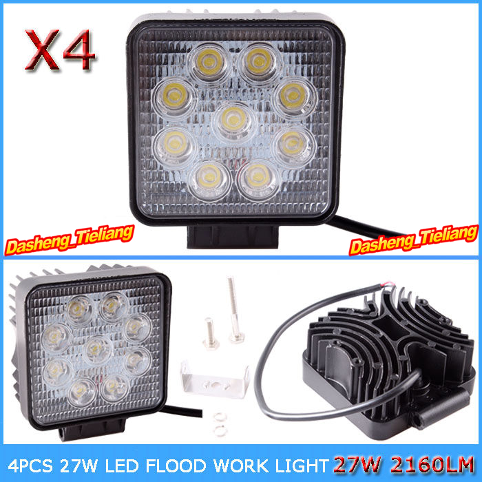 """4PCS LED Work Light 4"""" Inch 27W 12V 24V Flood Fog Driving Lamp for Motorcycle Tractor Truck Trailer SUV Off roads Boat 4WD 4x4(China (Mainland))"""