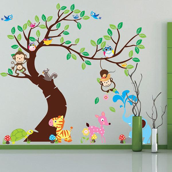 Acheter animal de bande dessin e arbre papier peint 3d vintage enfant vinyle - Papier peint enfant vintage ...