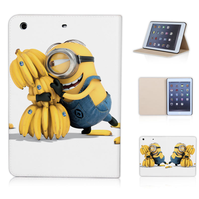 Super Cute Minions Love Bananas Flip Tablet Cover Case for ipad mini 1 2 3 Sleep Wake Mode P049-ip-mini(China (Mainland))