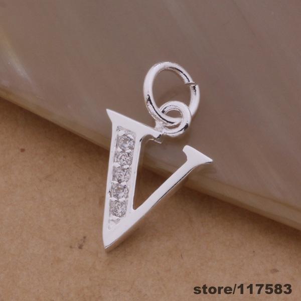 AN228 silver plated Necklace fashion jewelry pendant letter V /dvnammua apaajgha - Fancy True Love Jewelry Trade Co.,Ltd store