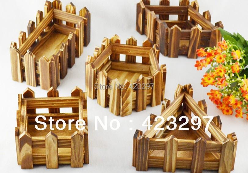 Natural garden wooden fence artificial flowers arrangement vase pot plant holders home decoration - Sweet Fashion Home store