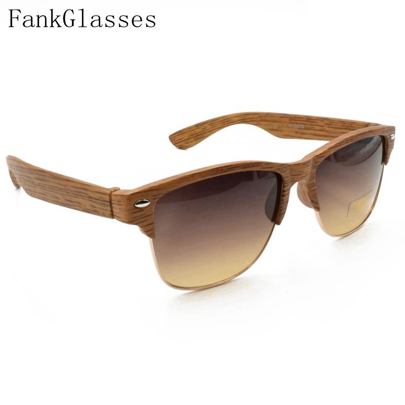 FankGlasses 2016 Plastic Wood Grain Designer Sunglass Women Half Frame Sunglasses Men Brand Vintage Sun Glasses oculos de sol(China (Mainland))