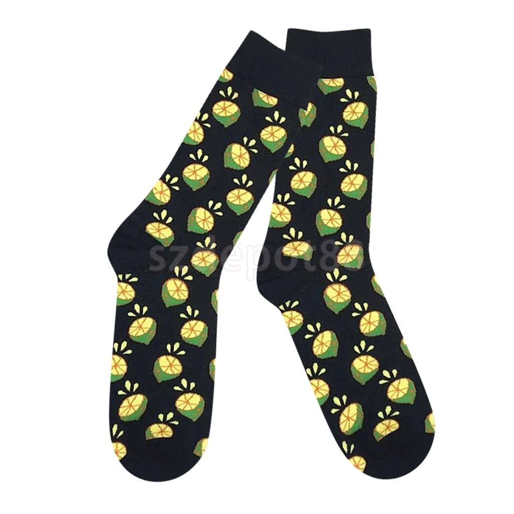 Unisex Fashion Cute Pineapple Lemon Cherry Fruit Printed Cotton High Ankle Socks Middle Tube Stocking Sports Socks
