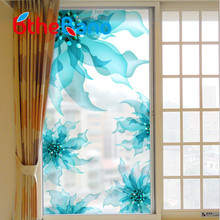 Buy 60*116cm modern Frosted Privacy Glass Window Door blue Flower Sticker Film self Adhesive window film Home Decor Hot Sale for $9.92 in AliExpress store
