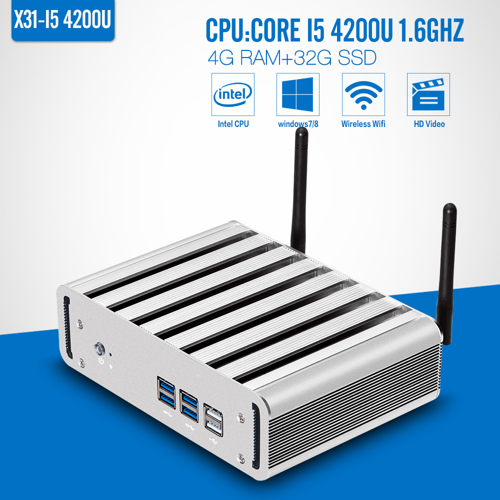 I5 4200U 4GB RAM 32GB SSD+wifi Fanless Industrial Computer Desktop Machine Mini PC Hdmi Support Windows7/8/Linux(China (Mainland))
