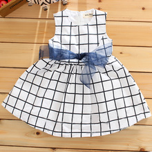 Free Shipping Cute Lovely Comfortable Baby 0-3 Years Toddler Girl Cotton Sleevless Blue Plaid Bow-knot Belt Dress(China (Mainland))