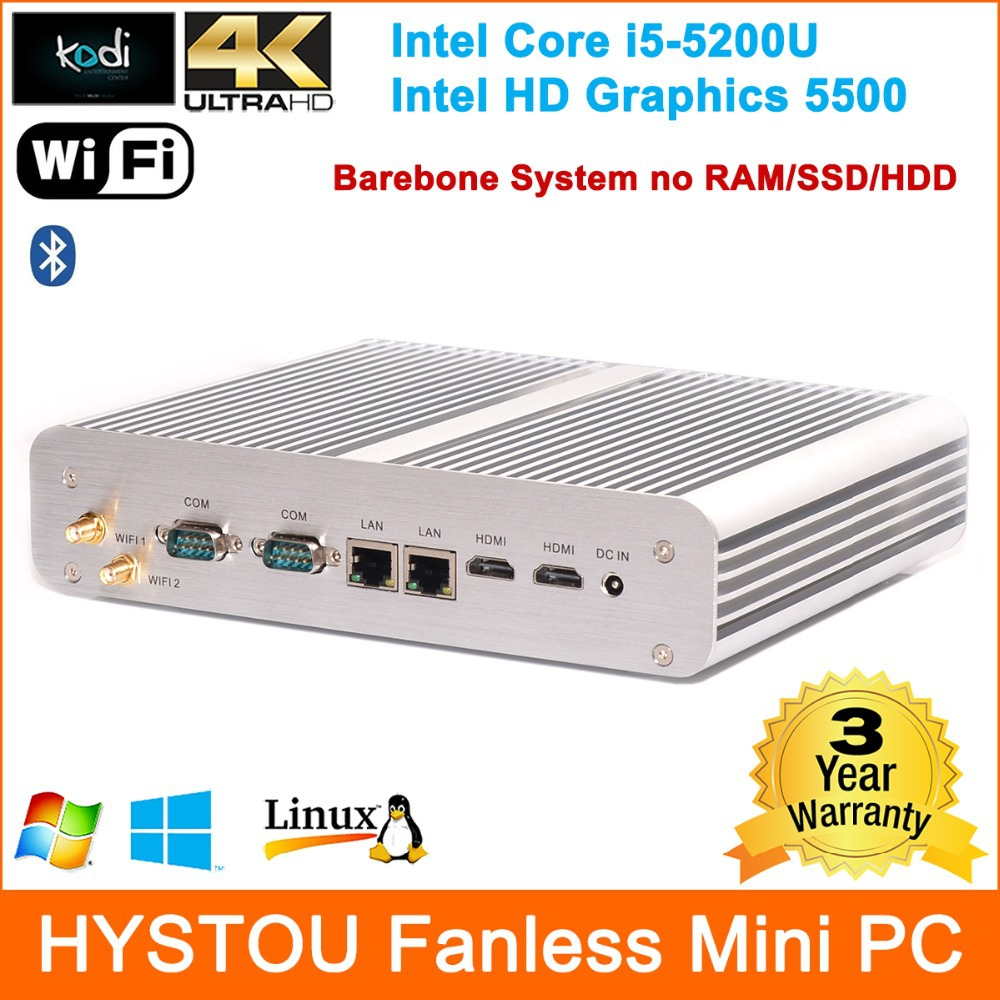 5th Gen Broadwell Architect Intel Core i5 5200U Processor Rugged Fanless Mini ITX PC Barebone System 2*Gigabit RJ45 Lan+HDMI+COM(China (Mainland))