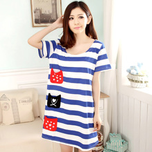 Summer New Fashion Women's Knitting Cotton Striped Cute Sleep Dress Outdoor Sleepshirts Multi Pockets Casual Homewear Girls
