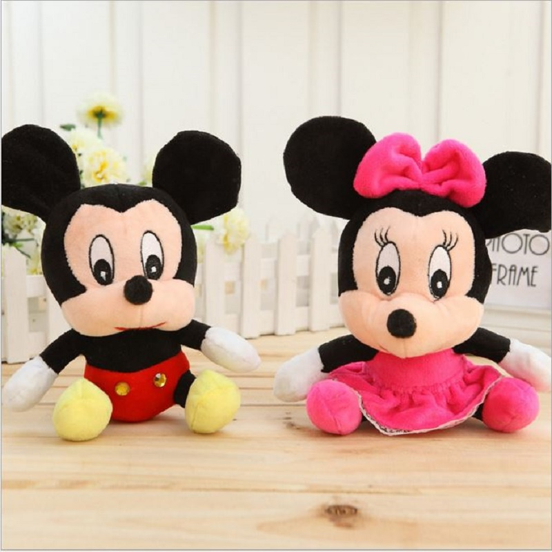 FS 18CM Mickey Mouse Plush Toys High Quality Stuffed Mickey Minnie Doll Birthday Gift For Girls #ML0127(China (Mainland))