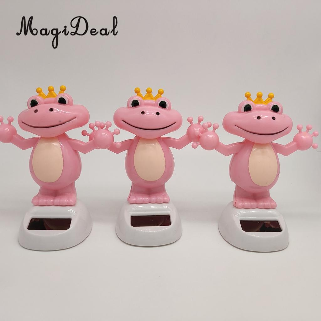 Solar Power Dancing Frog Weaving Hands Head Figure Statue Animal Model Figurine Kid Educational Toy Gift Home Decor