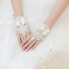 Cheap free shipping short Bridal gloves lace bow wedding gloves fingerless beaded lace wedding gloves(China (Mainland))