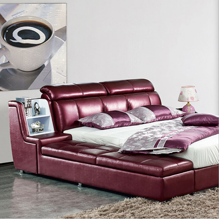 Webetop Modern Luxury Home Furniture Bed Set With Bedside Cabinet Leather Bed New Soft Leather