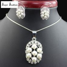 jiayijiaduo Imitation pearl pendant jewelry sets for women white color flower necklace earrings party costume gift love wedding(China)