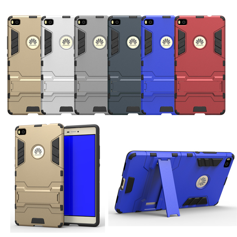For Huawei Ascend P8 Case 5.2inch Dual Layer Hybrid Rugged Armor Hard PC+TPU 2 In 1 Shockproof With Kickstand Cover 30pcs