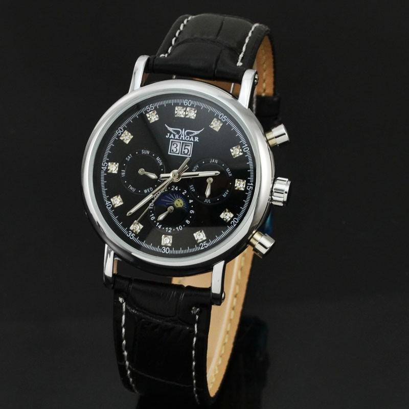 New Jaragar Brand Moonphase Self Wind Automatic Watch Men Luxury Rhinestone Calendar Mechanical Watches Leather Strap Wristwatch(China (Mainland))
