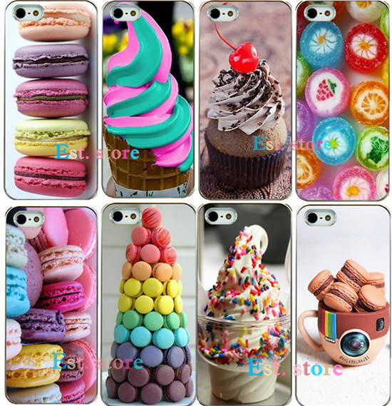 2015 new arrival hot dessert ice cream Macarons fruits strawberry sweet emboss hard cover UV print phone case for iphone 5 5s(China (Mainland))