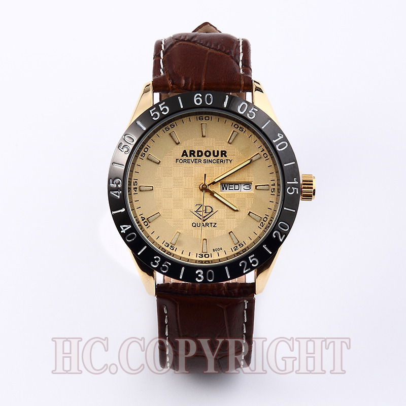 ARDOUR Waterproof Office Business Men High Quality Genuine Leather Leisure Casual Brown Band Gold Calendar Big Dial Wrist Watch(China (Mainland))