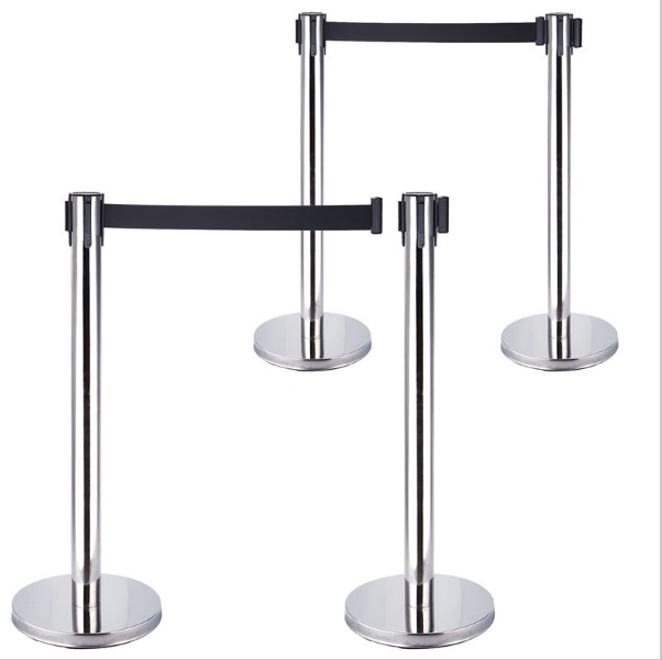 2 PACK Retractable Crowd Control Stanchion Queue Barriers Post Black Strap belt(China (Mainland))