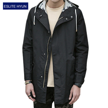 2017 New Arrival Spring Autumn solid Fashion Trench Men High Quality hooded Thin Jacket Men Outerwear Men's Trench Coat men(China (Mainland))