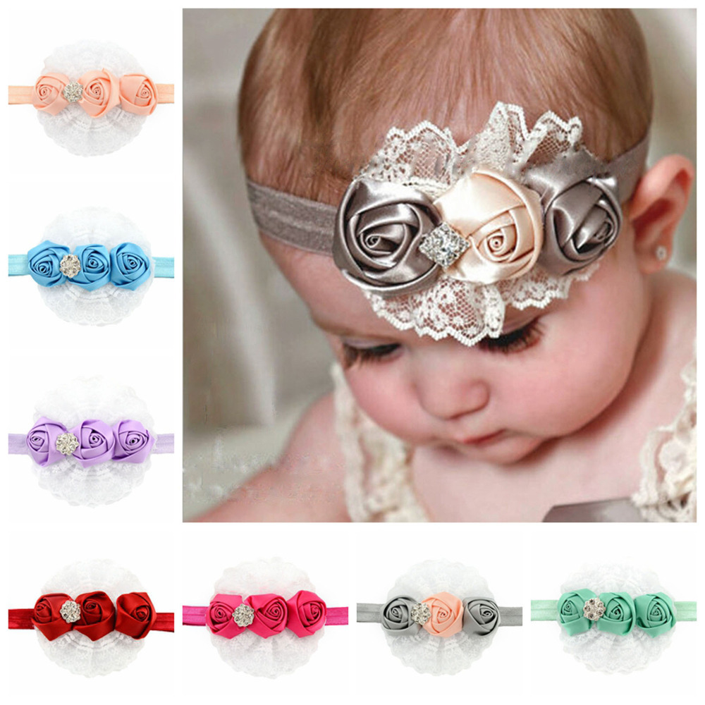 Hair Accessories Baby Girls Silk Lace Rose Flower Hairband Soft Elastic Headband Hair Band(China (Mainland))