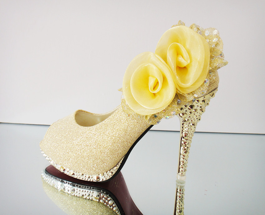 Yellow Gold Wedding Shoes Wedding Shoes Gold Flower