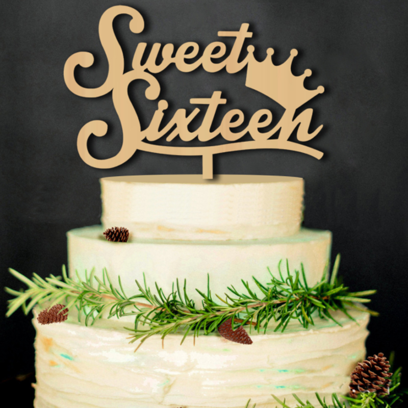 1 Pcs Creative Rustic Wooden Sweet Sixteen Cake Topper 16th Birthday Party Decoration