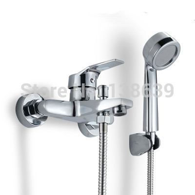 Free shipping Brass Single handle Wall Mounted Shower set faucet,good quality chrome polished rain shower set, bath taps-MY3(China (Mainland))