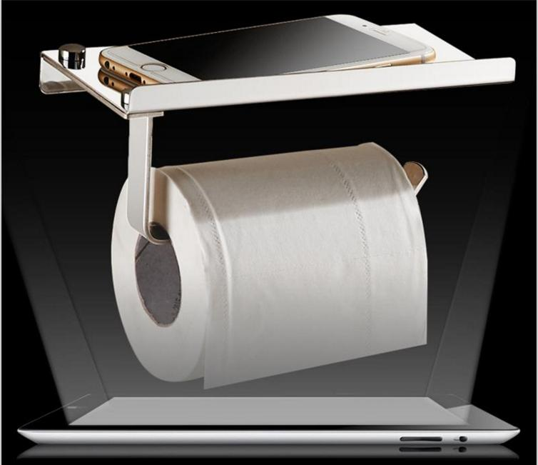 Stainless steel 304 bathroom paper phone holder with shelf bathroom Mobile phones towel rack toilet paper holder tissue boxes(China (Mainland))