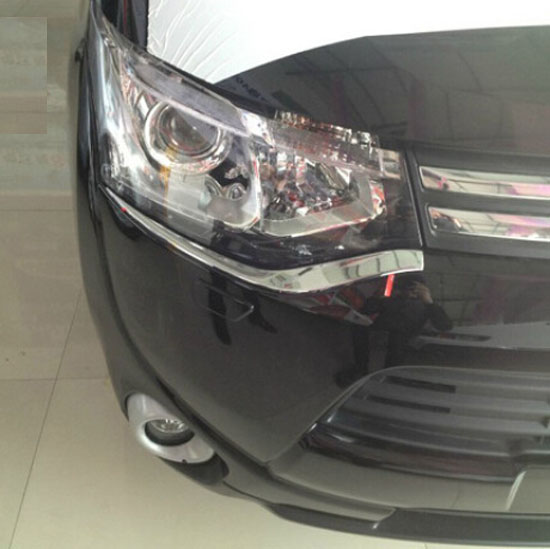 Accessories FIT FOR 2013 2014 2015 MITSUBISHI OUTLANDER CHROME FRONT HEAD LIGHT EYEBROW EYELID GARNISH TRIM COVER(China (Mainland))