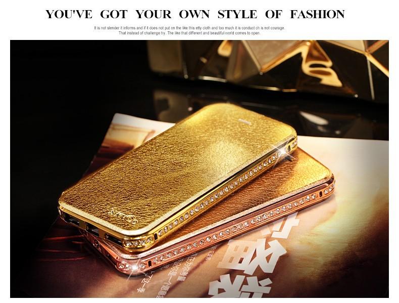 2016 Hot Sale Anti-knock Flip Leather Cover For Apple Iphone5/6/6plus Mobile Phone Accessories Rhinestone Case SBR 0029