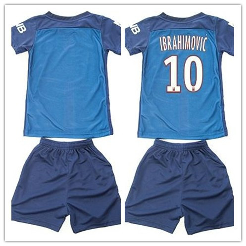 FOR KIDS set Soccer Jersey new home CHILDRENS #10 IBRAHIMOVIC football shirt 2015 2016 Saint-Germain home kids kit, kids soccer(China (Mainland))