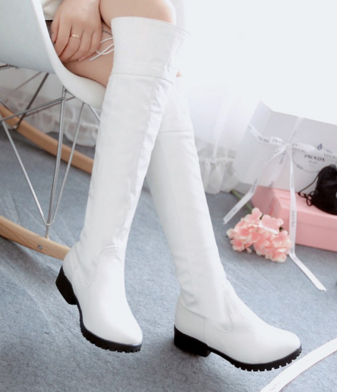 ENMAYER Sexy Over-the-Knee Fashion Flats Knee Long Boots Warm Short Plush Winter Dress Casual Shoes Lace-Up Knight Boots <br><br>Aliexpress