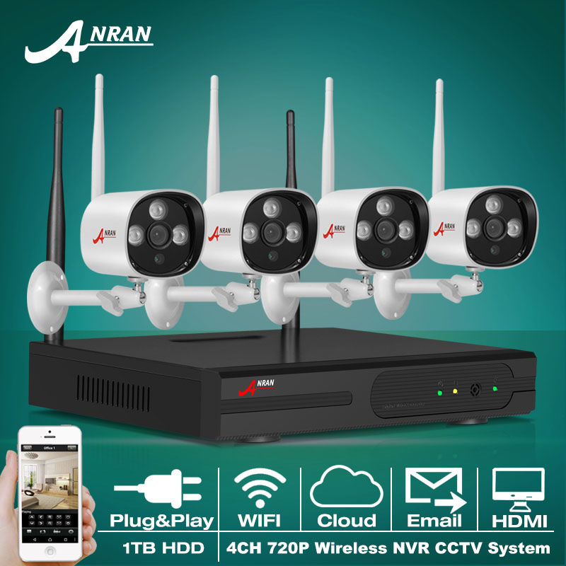 Plug And Play P2P 720P HD Outdoor IR IP Camera WIFI Security CCTV System 4CH Wireless NVR Surveillance Kit 1TB HDD(China (Mainland))