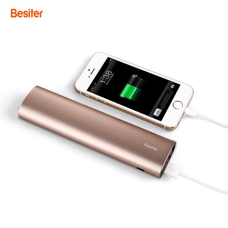 Besiter 10000mah Portable Power Bank for Smart Phones Battery Cell Power Charger with LED Flash Light Aluminium Battery Packs(China (Mainland))