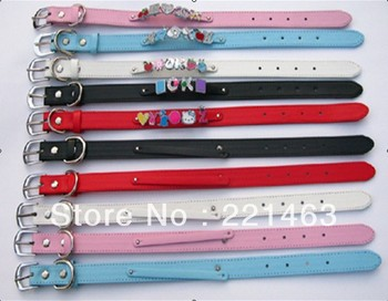 5pcs 400x15mm+8mm Copy Leather Dog collar Fit 8mm slide charms Name Tag