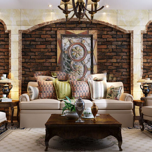 Vintage three dimensional embossed effect stone brick wall for Brick wallpaper living room ideas