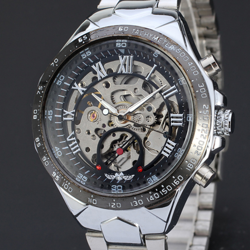 SPlendid Men Watches 2015  Russian Skeleton Automatic Watches For Men Silver Stainless Steel Wrist Watch<br><br>Aliexpress