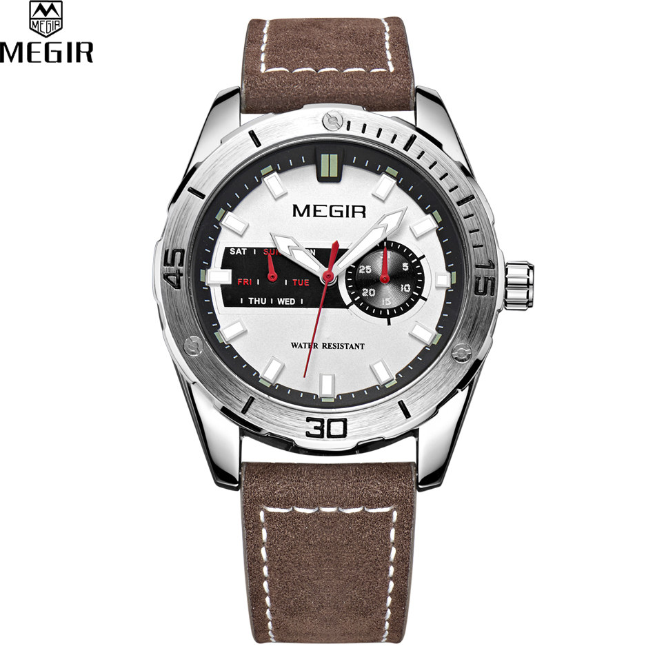 relogio masculino luxury megir brand leather analog