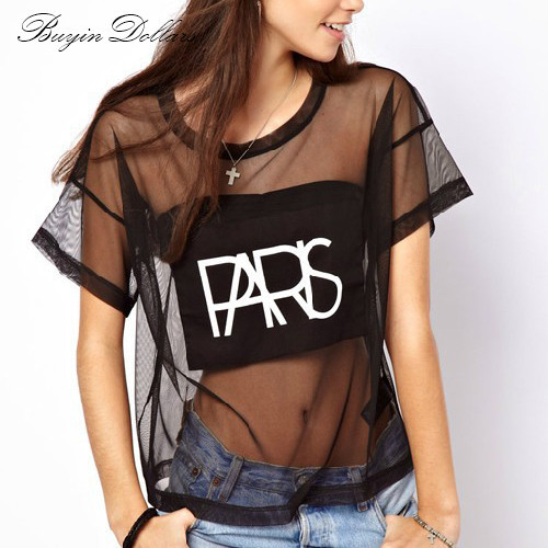 "2015 Summer Women Perspective Black Mesh T Shirt Poleras De Mujer Moda Short Sleeve Polerones Mujer Print Letters ""PARIS""(China (Mainland))"