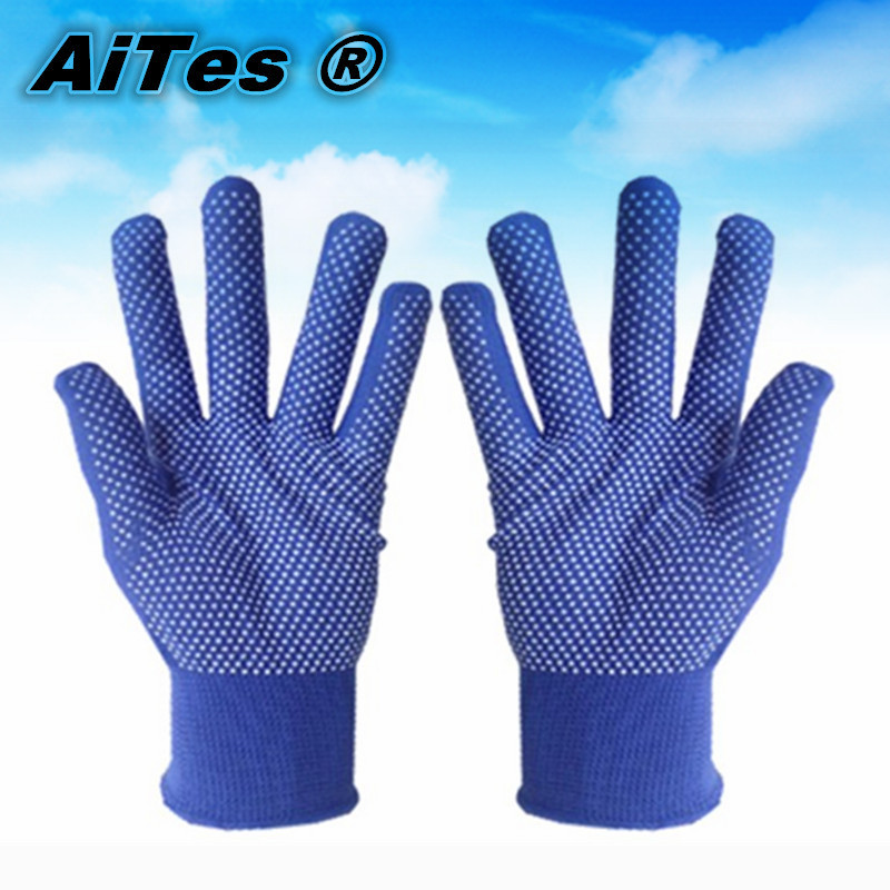 Hot selling!  24pieces/lot/12Pairs   Safety working equipment pvc dotted cotton gloves  dot plastic Palm Slip&wear resistant(China (Mainland))