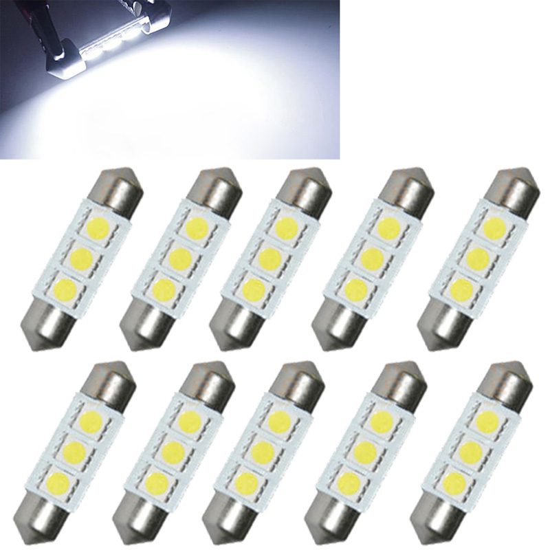 10PCS 31mm 36mm 39mm 41mm 12V C5W Cold White 3 SMD LED Festoon Interior Dome Light Lamp Bulb For Carng(China (Mainland))